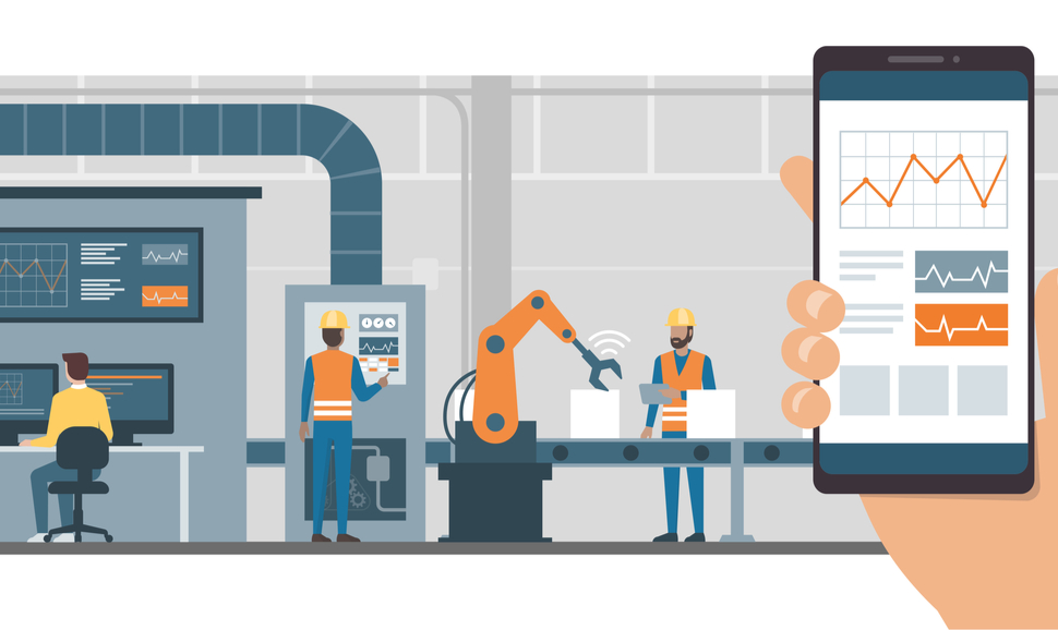 Illustration of a person using a monitoring app on a smartphone and smart automated production line with workers and robots on the background.