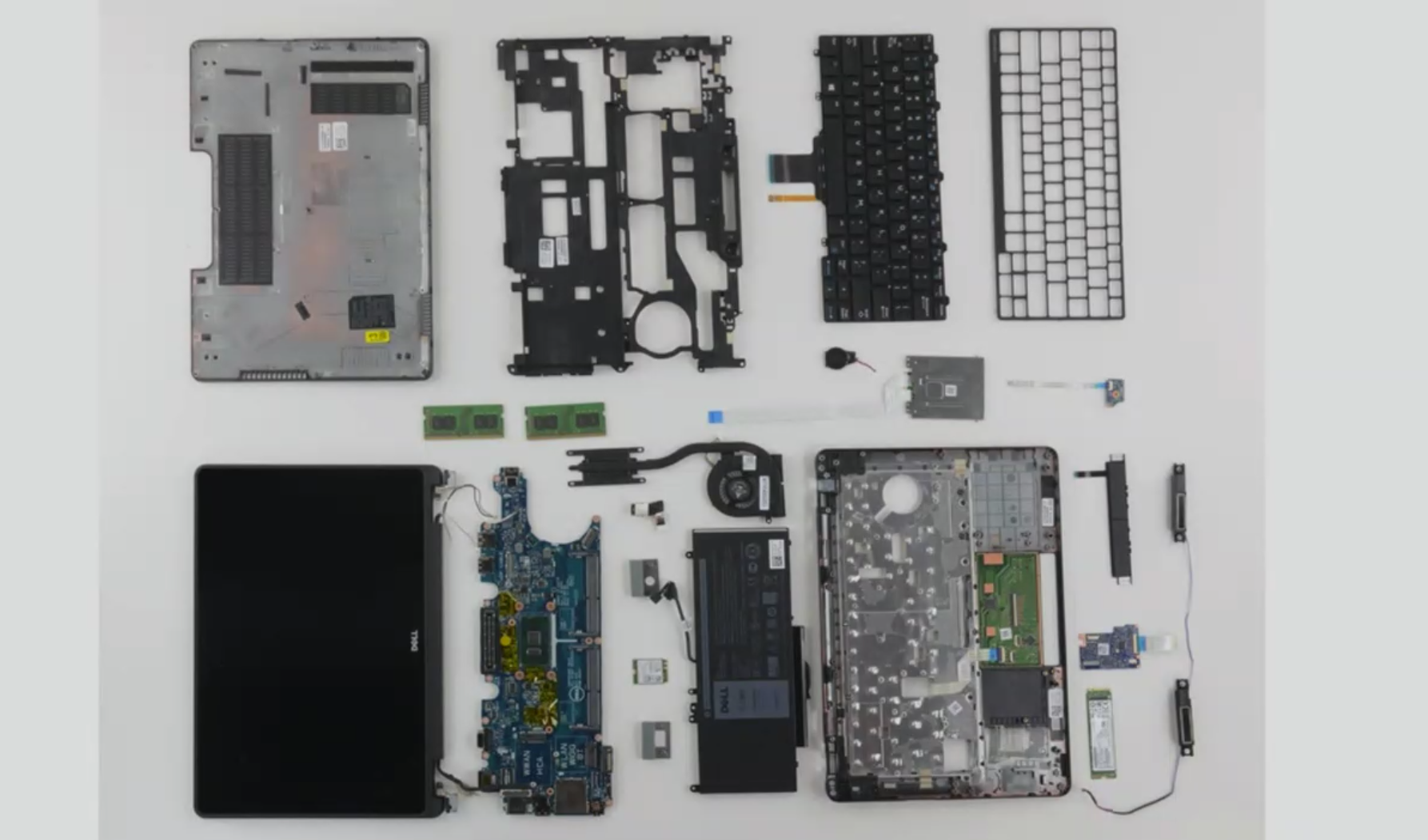 A view from iFixit of the innards of a Dell laptop.