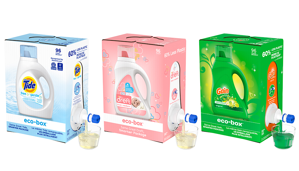 Tide, Dreft and Gain detergents in ecobox packaging
