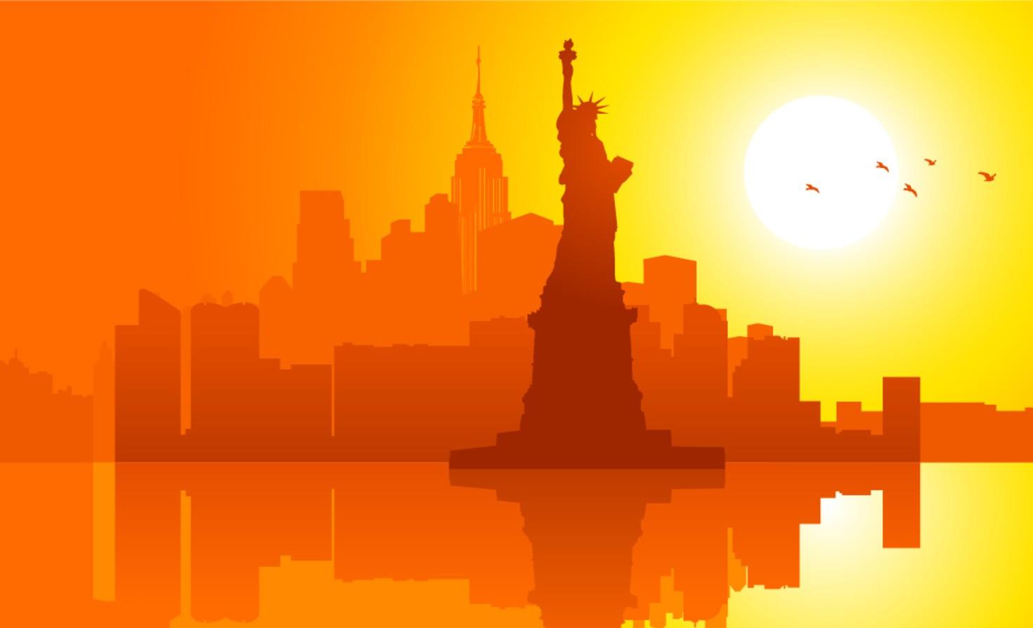Lady Liberty illustration at sunset