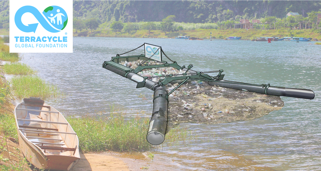 Prototype for plastic traps in river