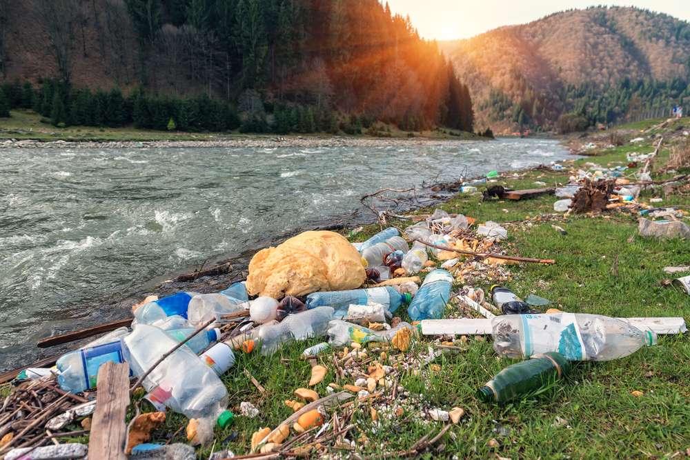 Plastic garbage on a mountain river bank