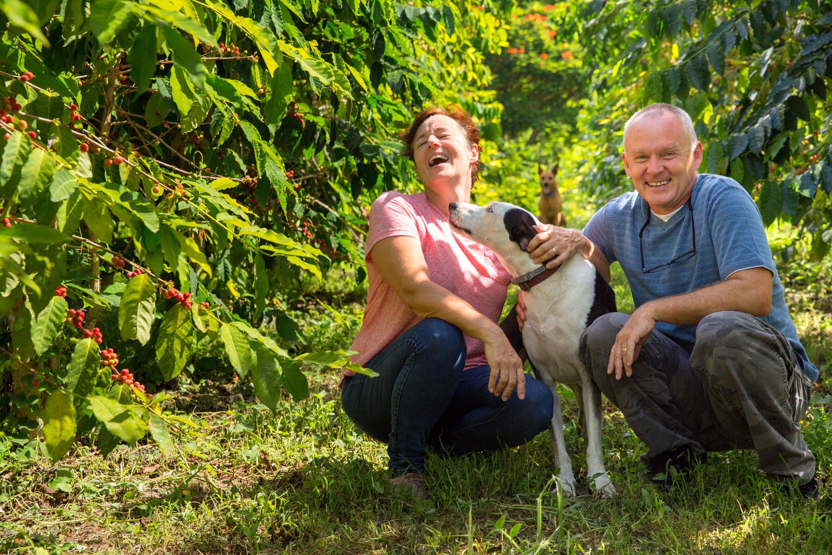 Hala Tree Coffee Farm owners Danielle and Jean Orlowski