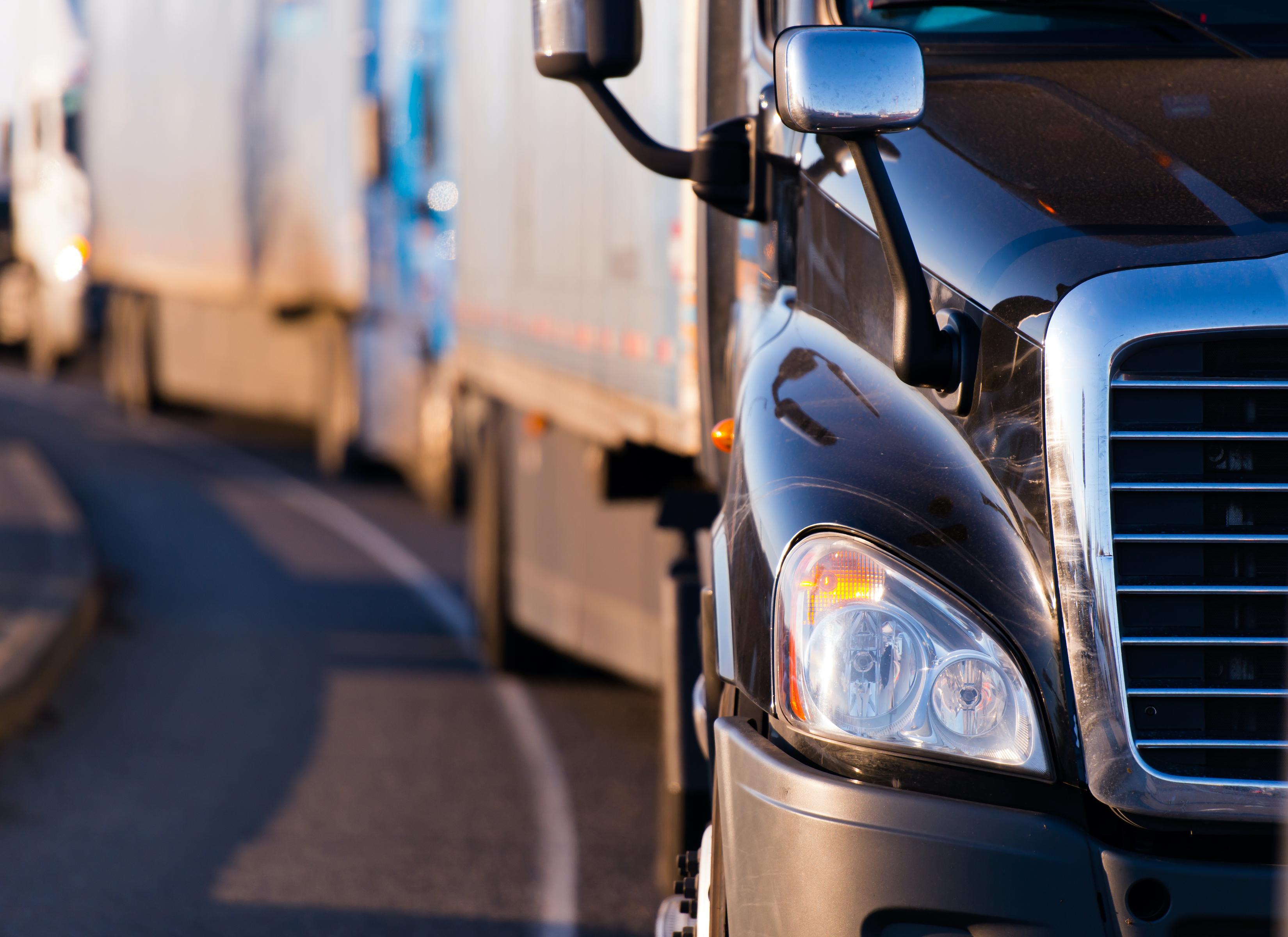 Front view of semi trucks