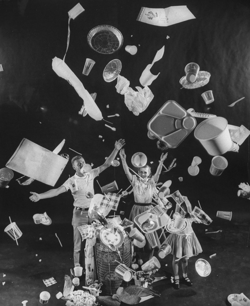 """Much of industry continues to embrace """"throwaway living,"""" which was celebrated in this Life Magazine photograph in 1955."""