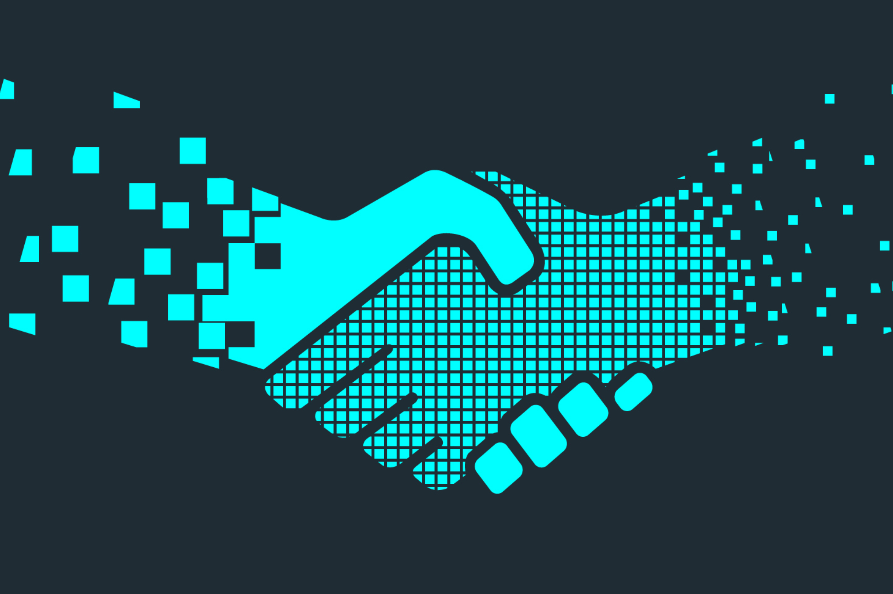 Illustration of a pixelated handshake
