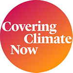 A circle with the color gradient that reads 'Covering Climate Now'