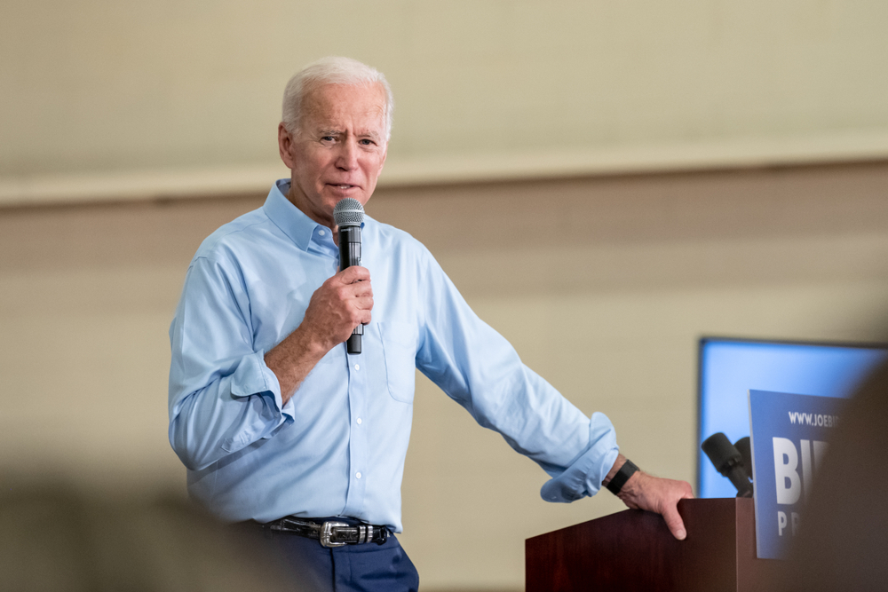 Democratic presidential candidate Joe Biden speaks to potential supporters during his campaign stop in Columbia, South Carolina