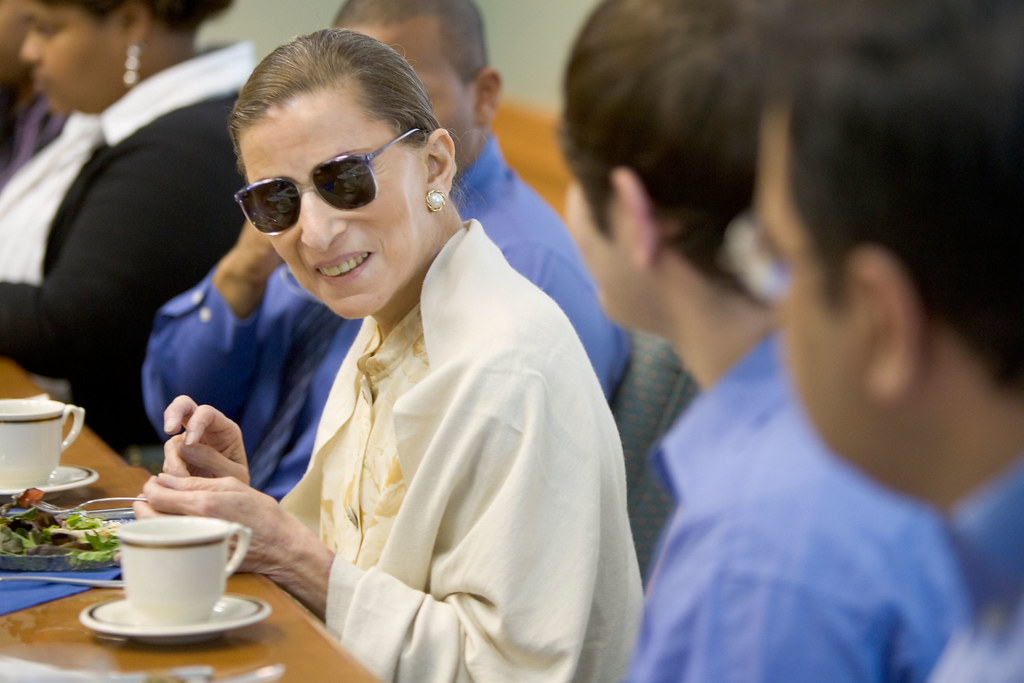U.S. Supreme Court Justice Ruth Bader Ginsburg has lunch with a group of Wake Forest law students in the Worrell Professional Center on Wednesday, September 28, 2005.
