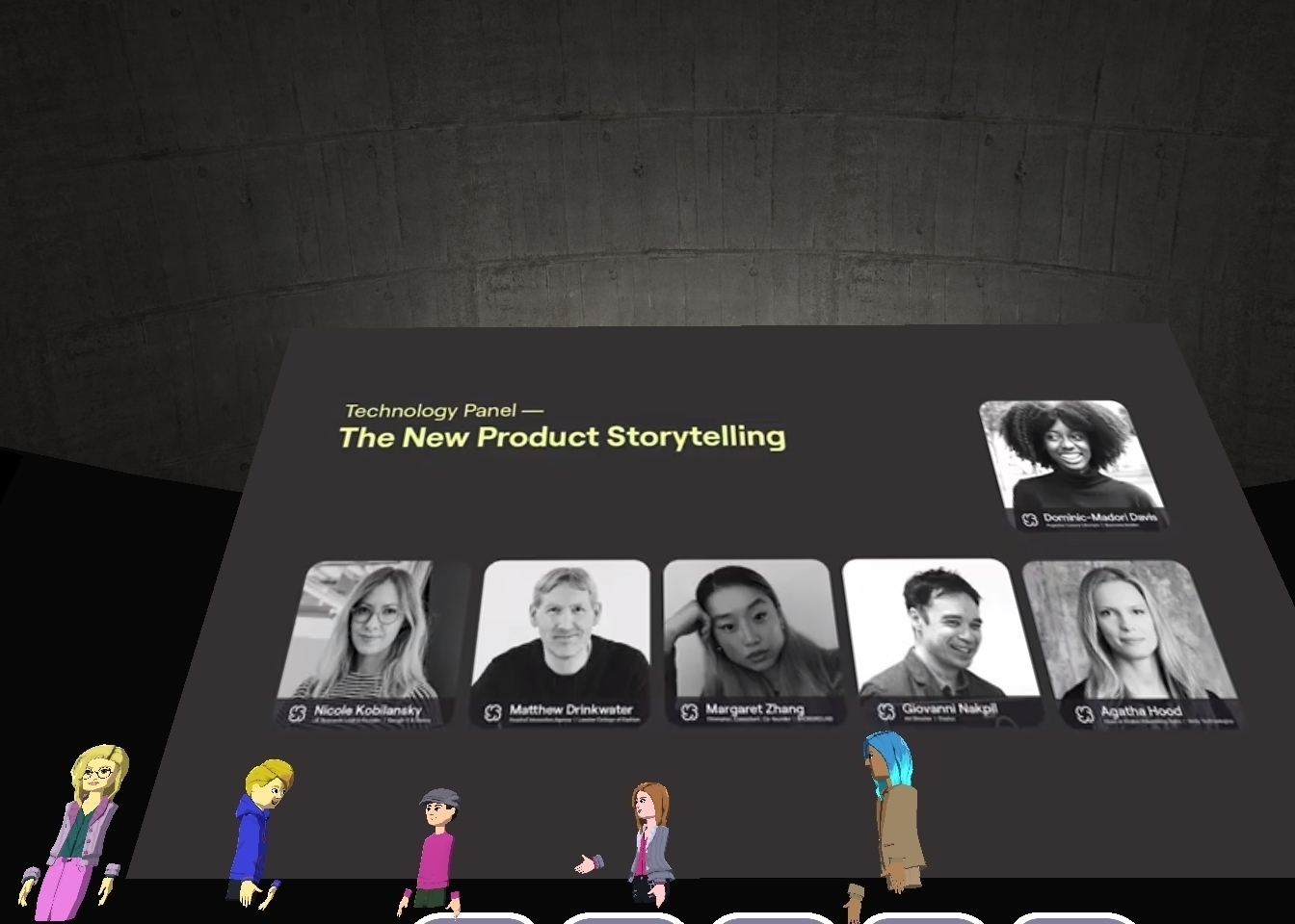 A screenshot shows panelists for a talk at the Circular Fashion Summit. Attendee avatars can be seen.