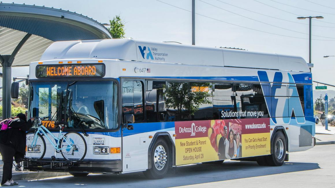 A Valley Transit Authority bus picking up passengers