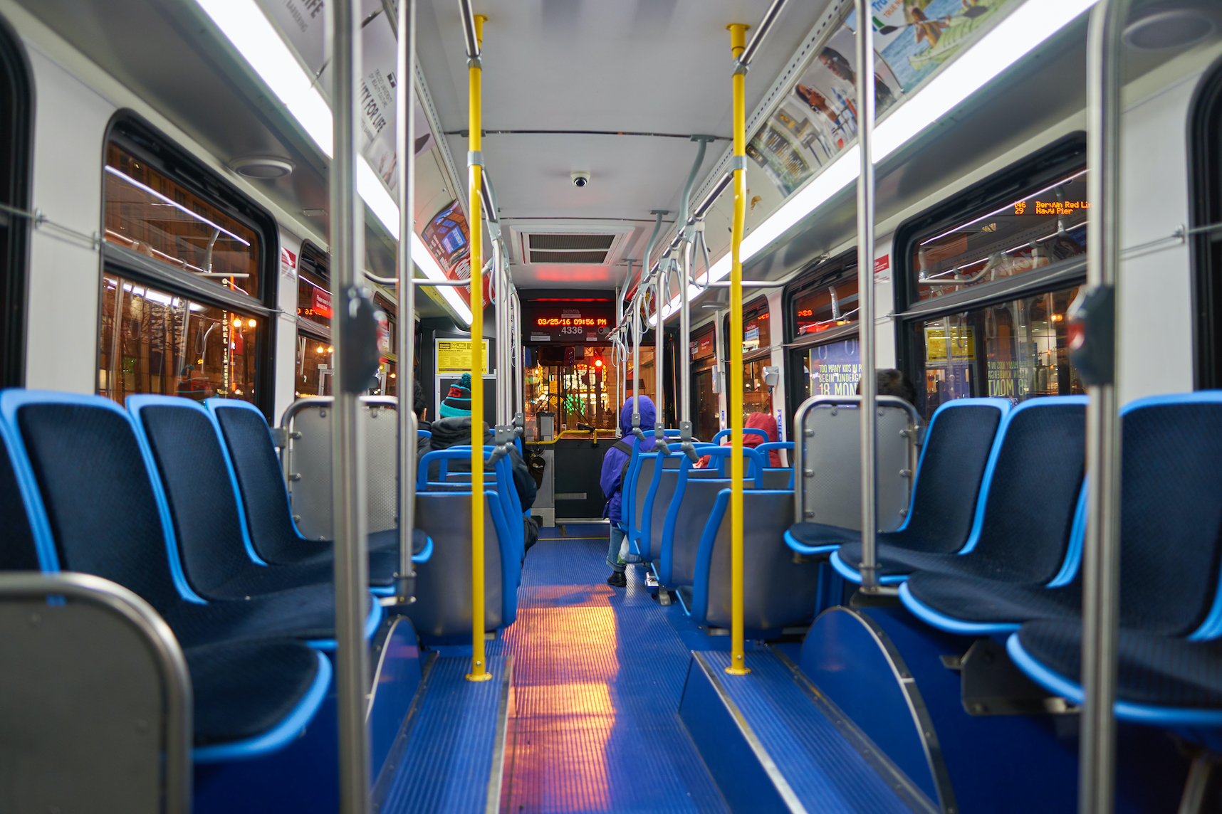 Inside a bus in Chicago, circa March 2016