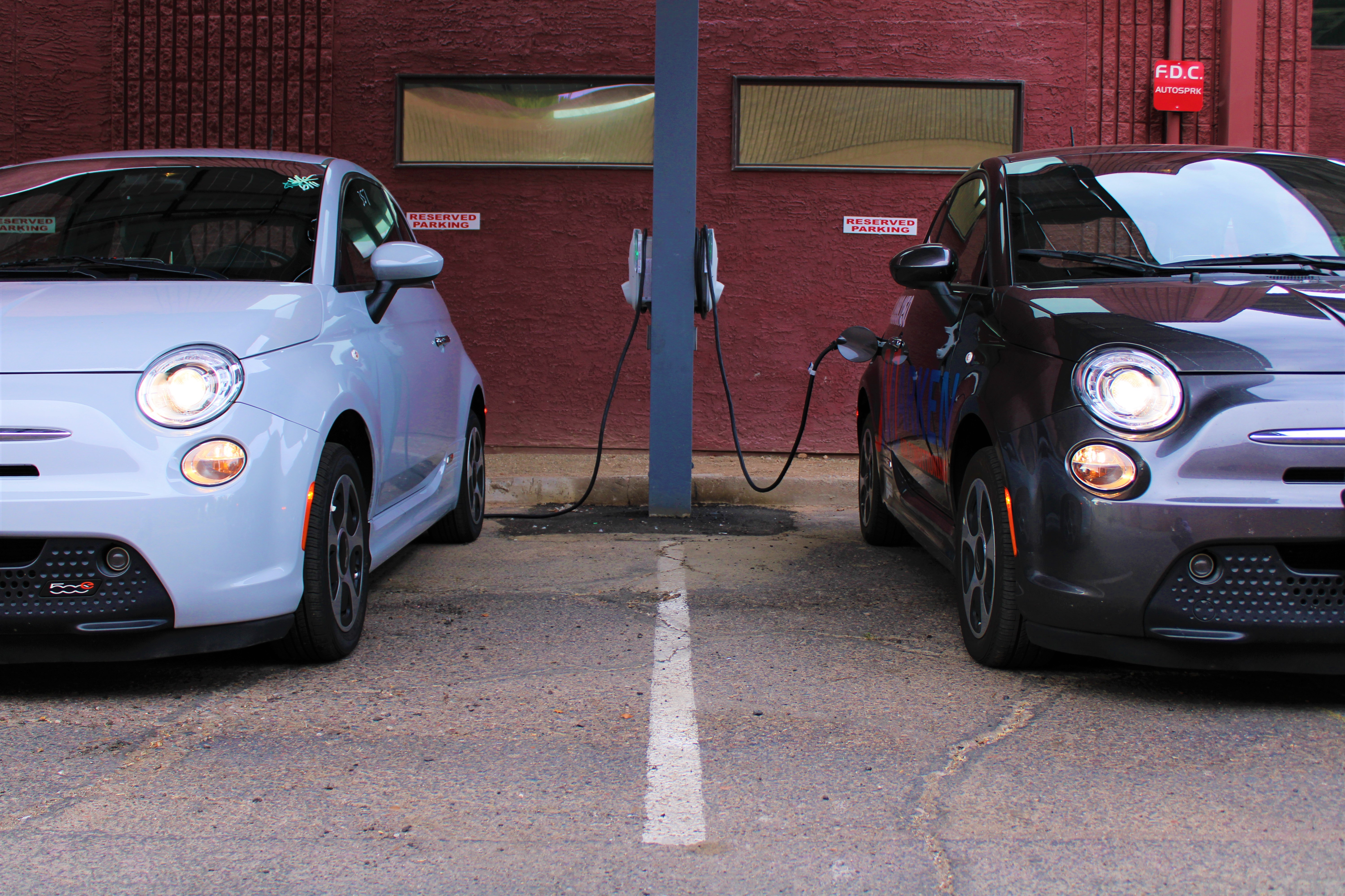 Two electric Fiat's charge up as Salt River Project's commercial EV customers