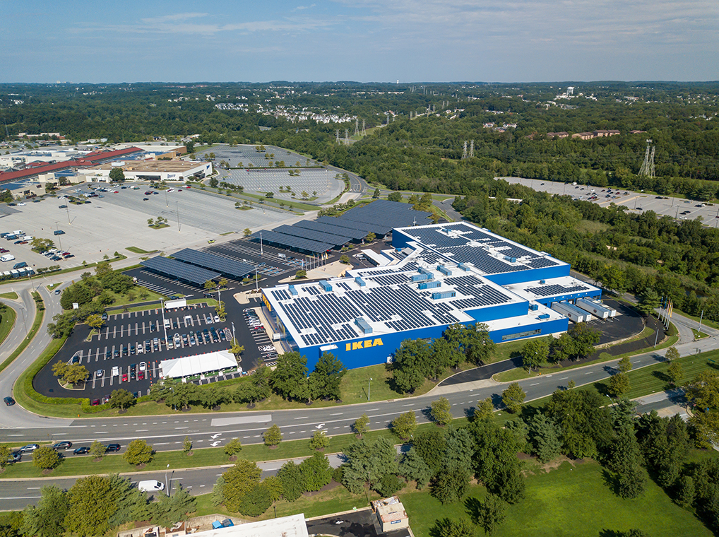 Aerial view of IKEA Baltimore location. Solar panels can be seen over car port.