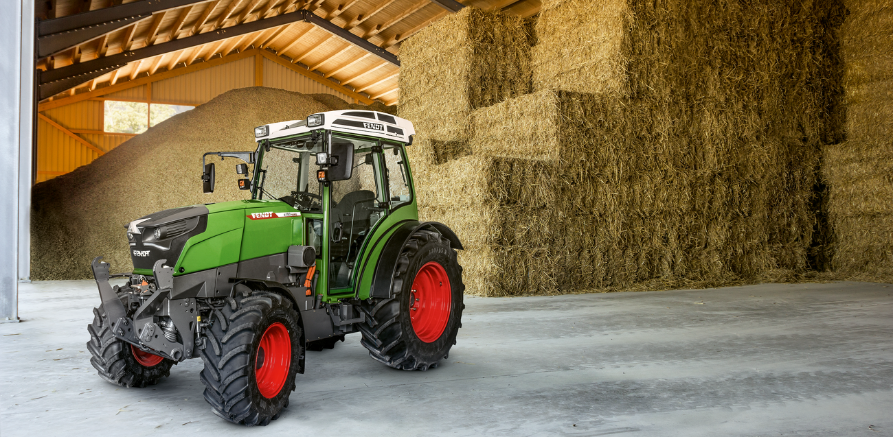 The battery-powered Fendt e100 Vario tractor