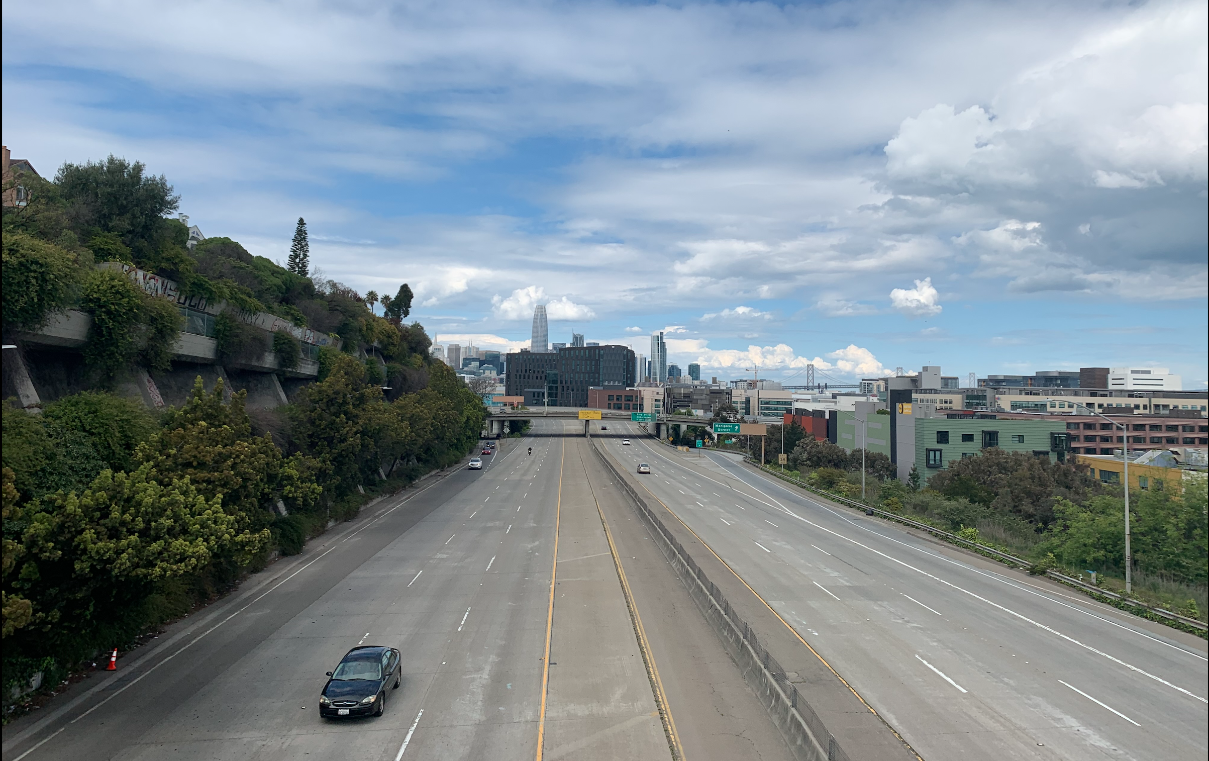 A nearly empty Interstate 280 in San Francisco on March 22.