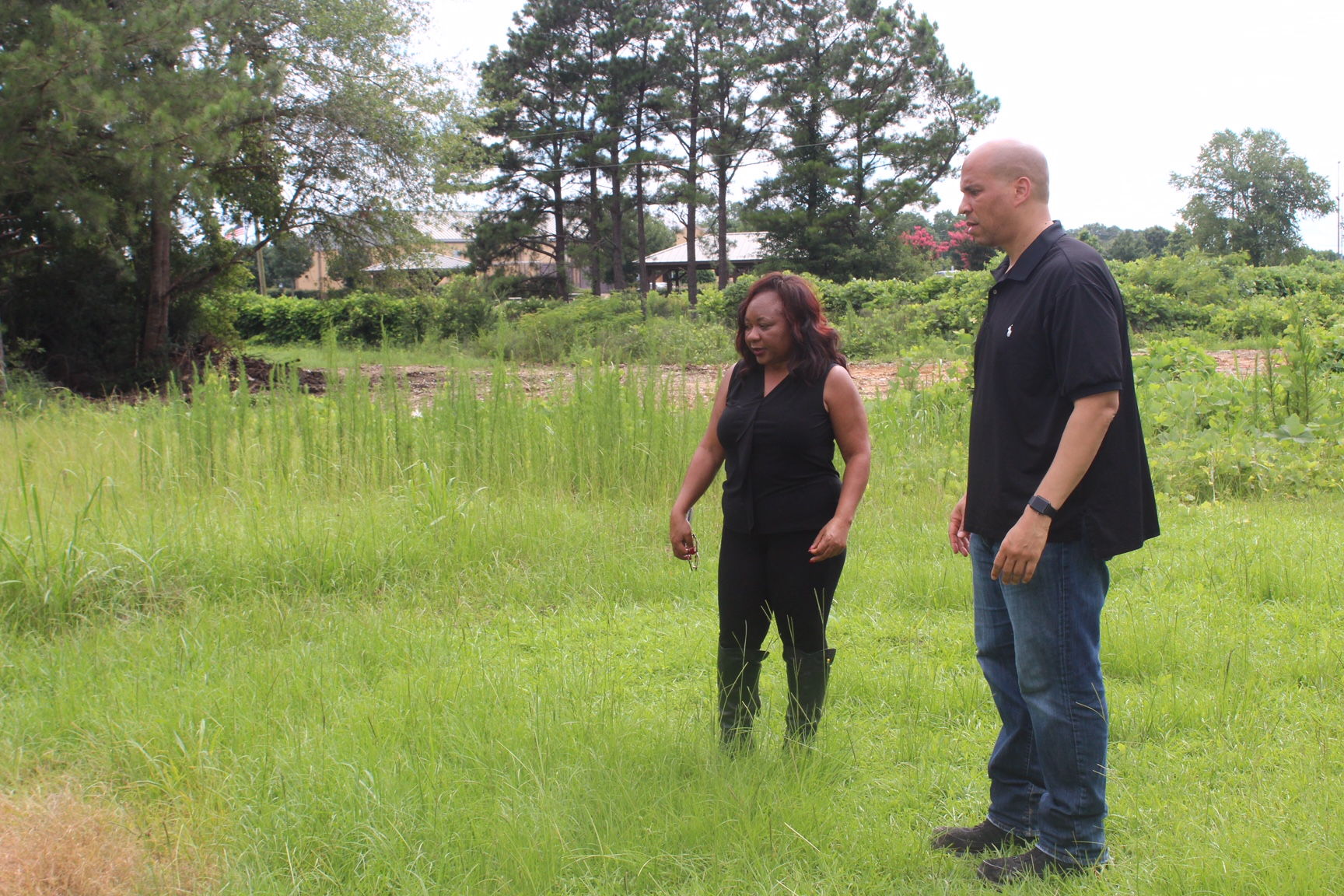 Catherine Flowers guides Senator Cory Booker through Lowndes County, Alabama, as part of his 2017 environmental justice tour.