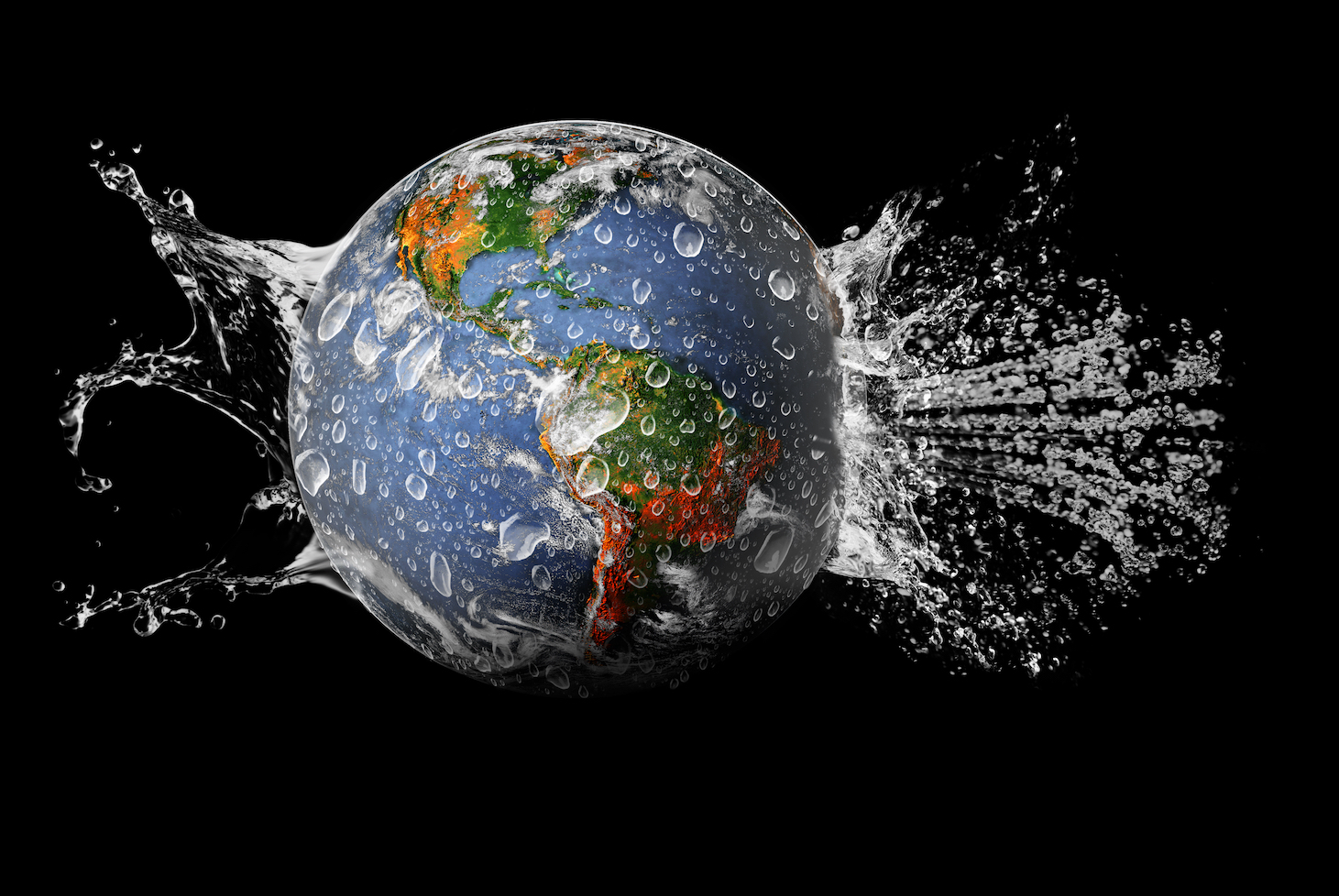 Earth with splashing water