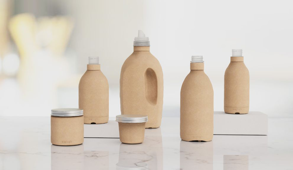 Set of paper bottle packaging.