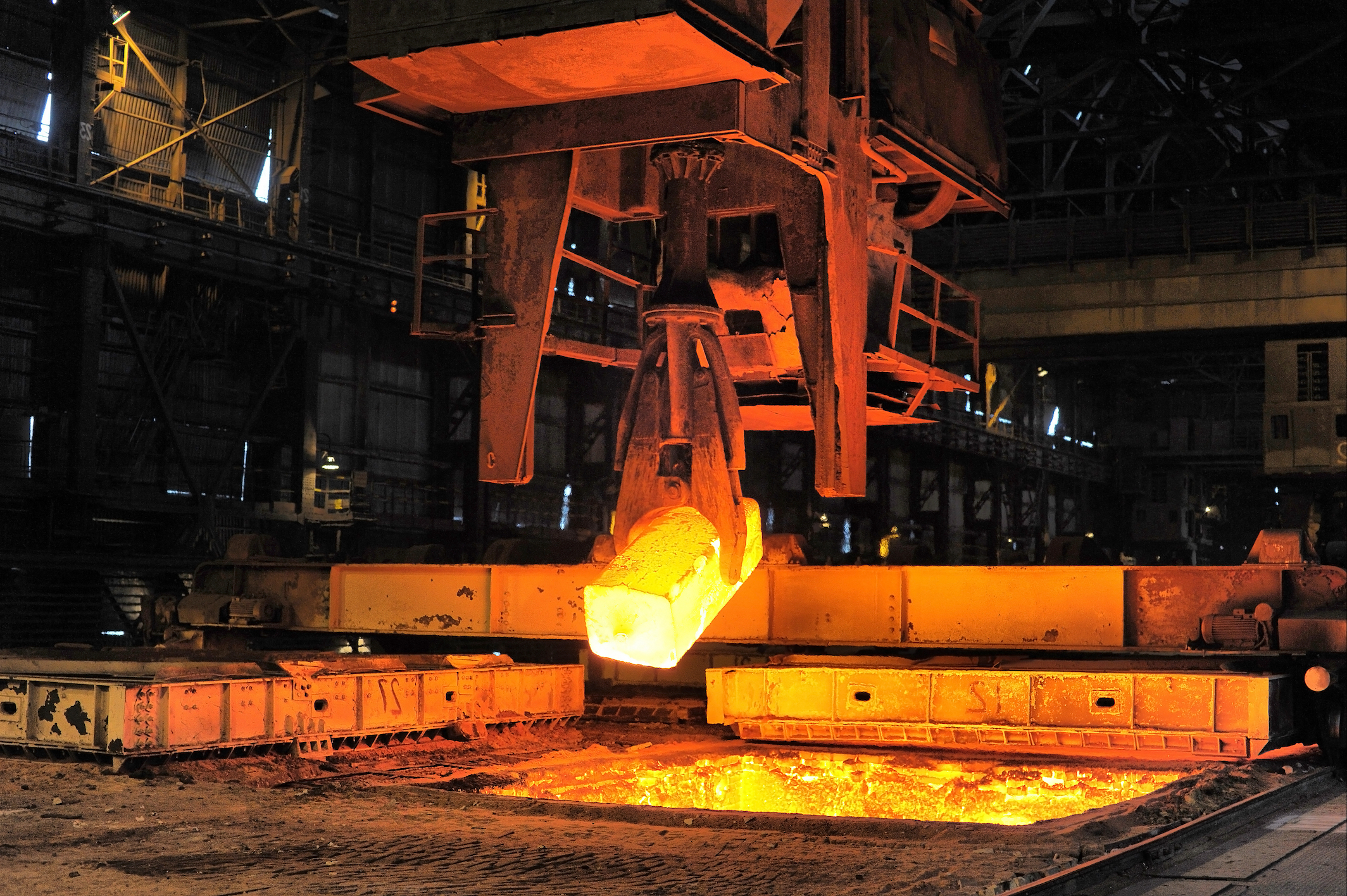 Heated steel being removed from a furnace