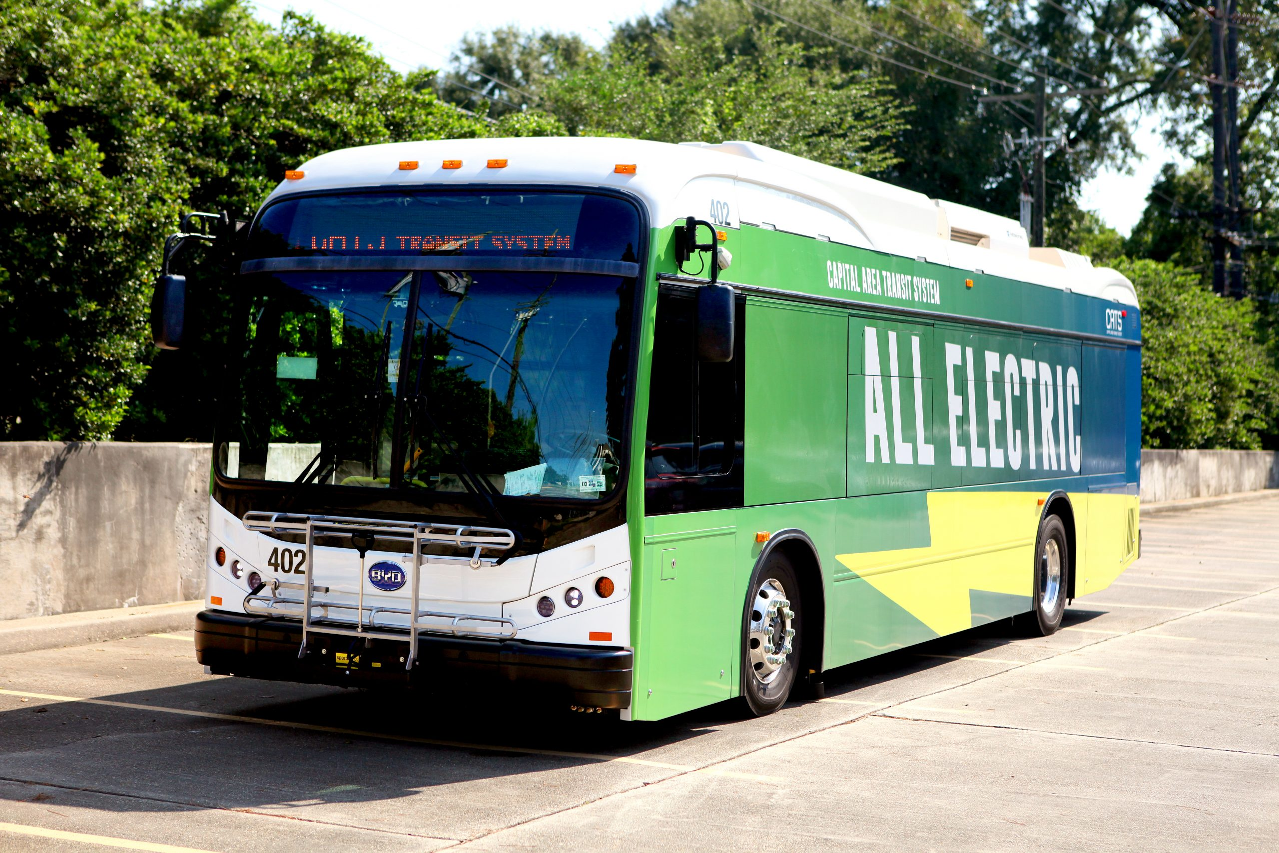 K8M battery-electric BYD bus for Capital Area Transit System (CATS) in Baton Rouge, Louisiana