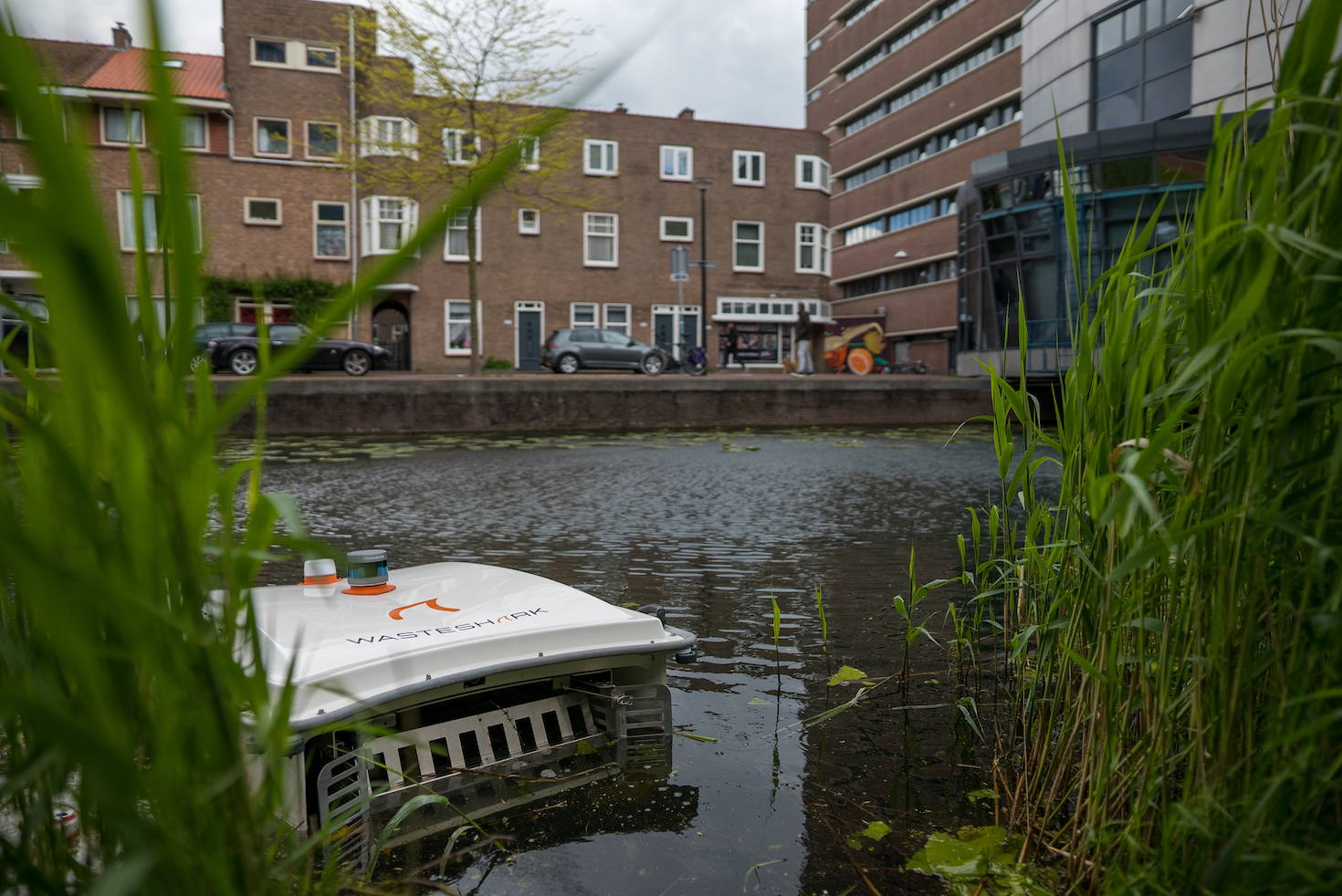 The WasteShark in a waterway in Dordrecht, the Netherlands.