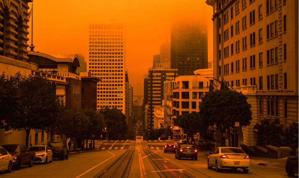 San Francisco Downtown Wildfire air pollution sky orange yellow glow in the bay area vertical