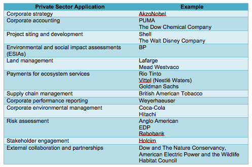 Examples of how companies use ecosystem services