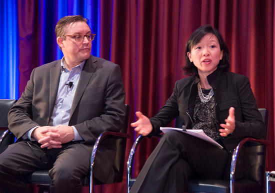 Seth Schultz, director of research at C40 Cities Climate Leadership Group, and Elizabeth Yee, vice president of platform strategy at 100 Resilient Cities