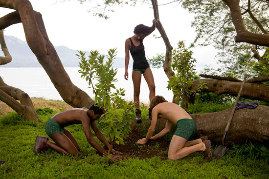 pact underwear models planting trees in africa