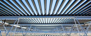 A view of the underside of a Solyndra array.