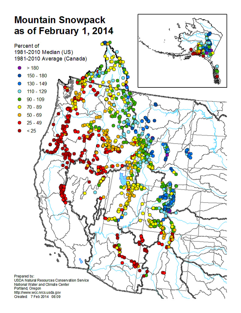 Mountain Snowpack infographic by U.S. Department of Agriculture shows California's dire drought.