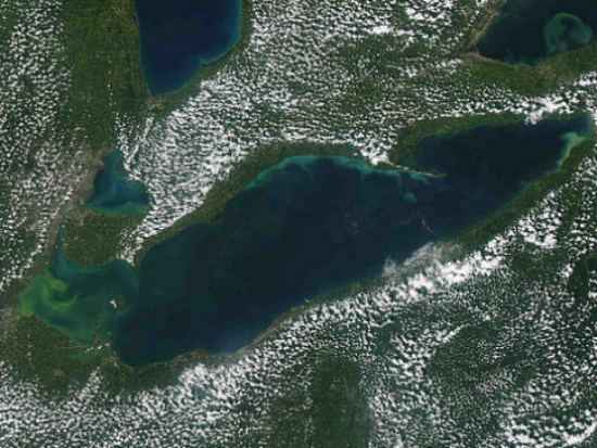 Algae bloom on Lake Erie seen from space