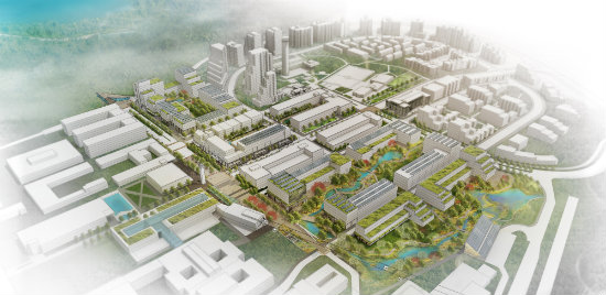 Bird's-eye view of Univercity VIllage plans (Credit: SFU Community Trust)