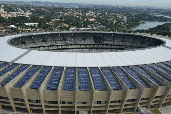 Solar panels at the Mineirão Stadium in Belo Horizonte City