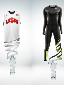 These products, the USA Basketball tank top and Nike Pro TurboSpeed track suit, are made from recycled plastic bottles.