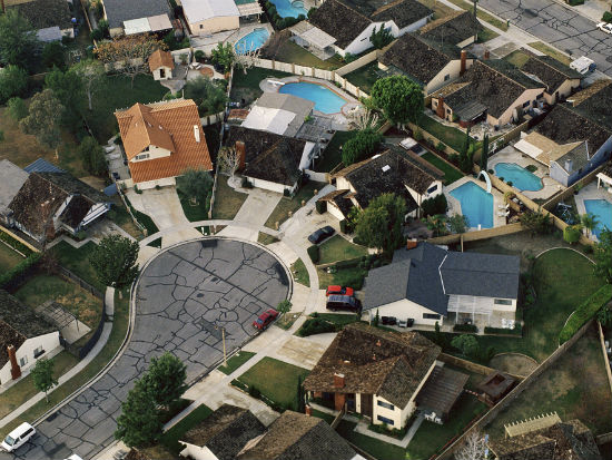 Aerial view of Orange County cul-de-sac