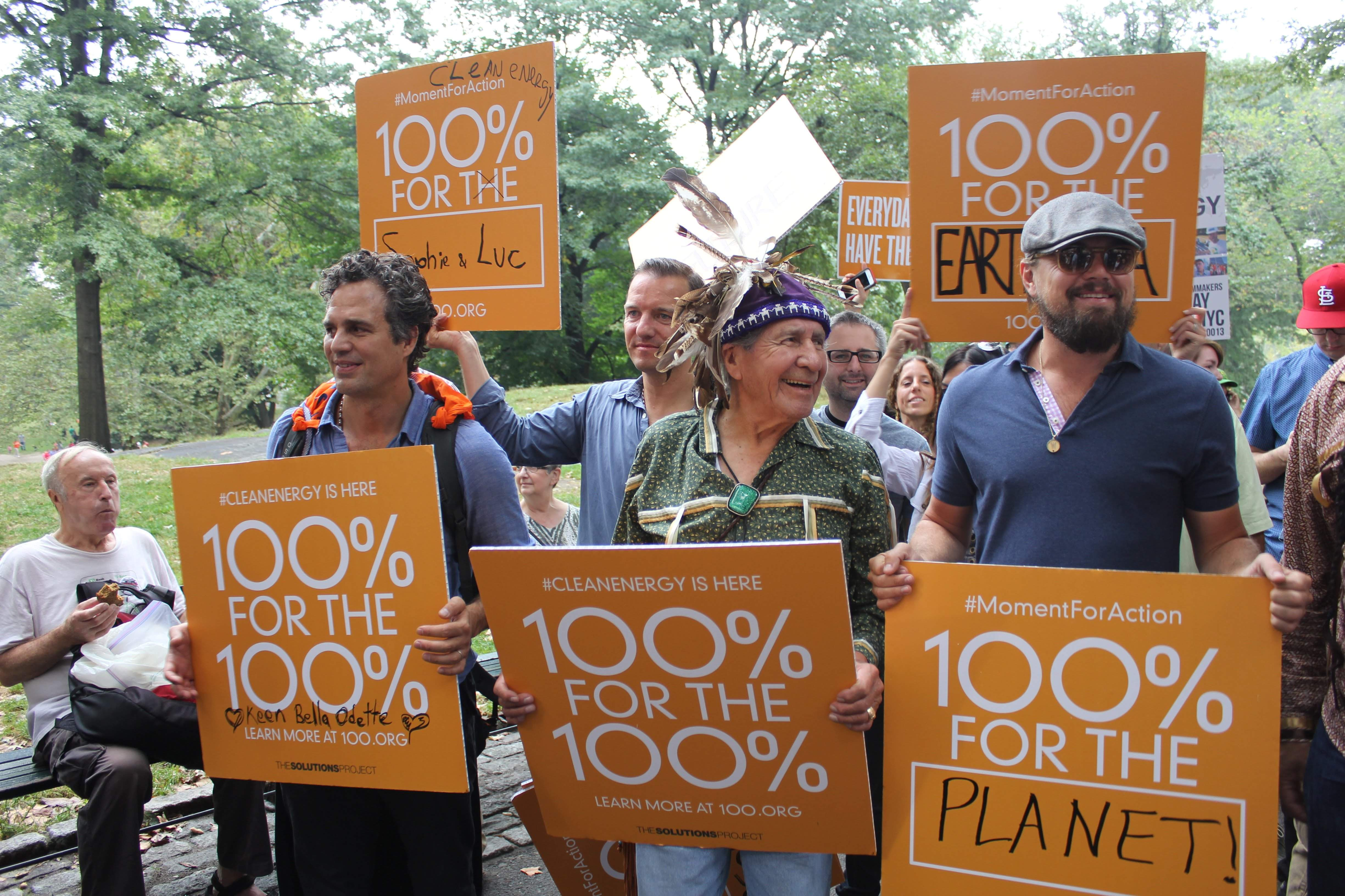 Mark Ruffalo, Leonardo DiCaprio, 2014 Climate March, 100% campaign