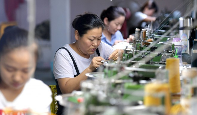 Production line of Chinese workers
