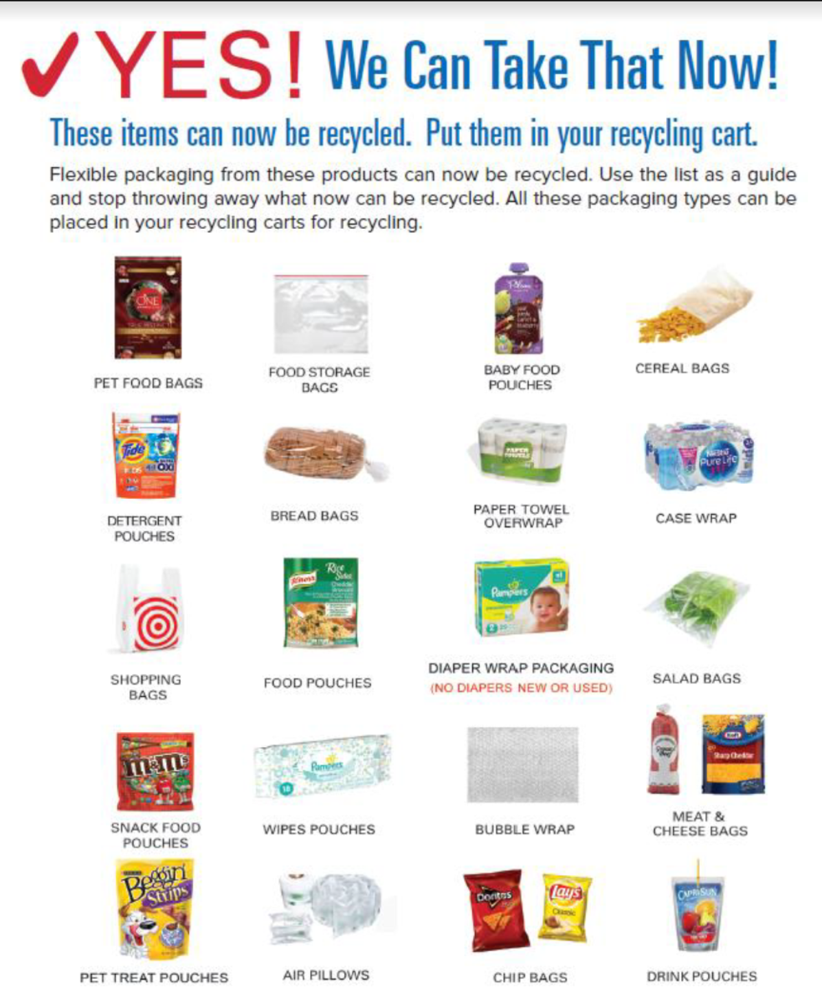 Flyer for Pottstown, Pennsylvania pilot curbside recycling program of flexible plastic packaging