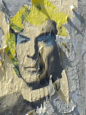 A peeling poster of Leonard Nimoy as Mr. Spock