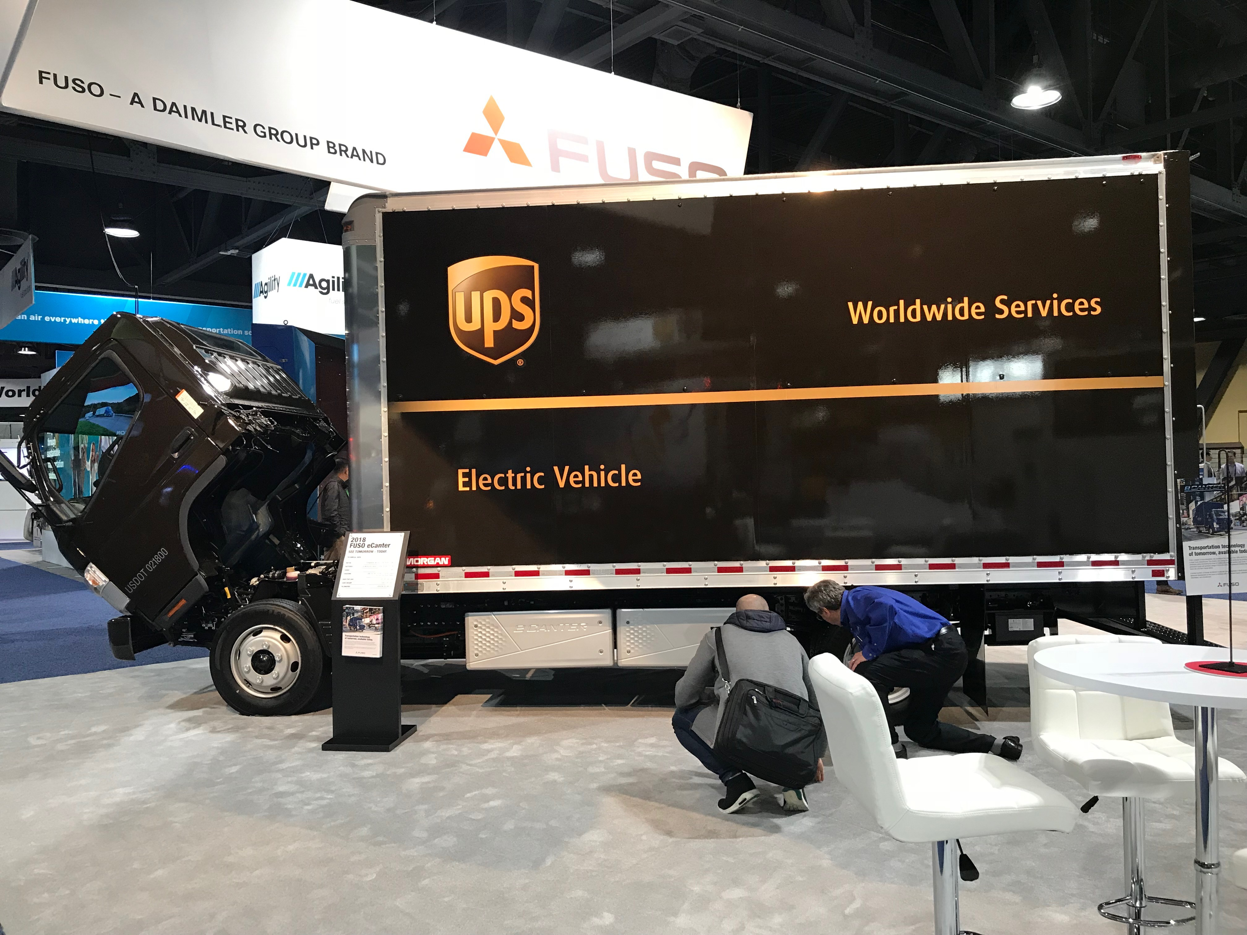 A UPS electric package delivery van.