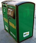 Solar-powered trash compactor and a recycling bin.