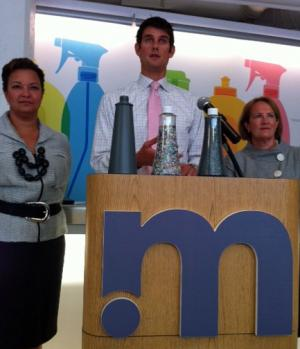 Lisa P. Jackson of the EPA, Adam Lowry of Method and Karen Mills of the SBA. The ocean bottle is on lectern on the left.