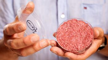 Maastricht University professor Mark Post holds a burger made from cultured beef. Photo by David Parry / PA Wire.