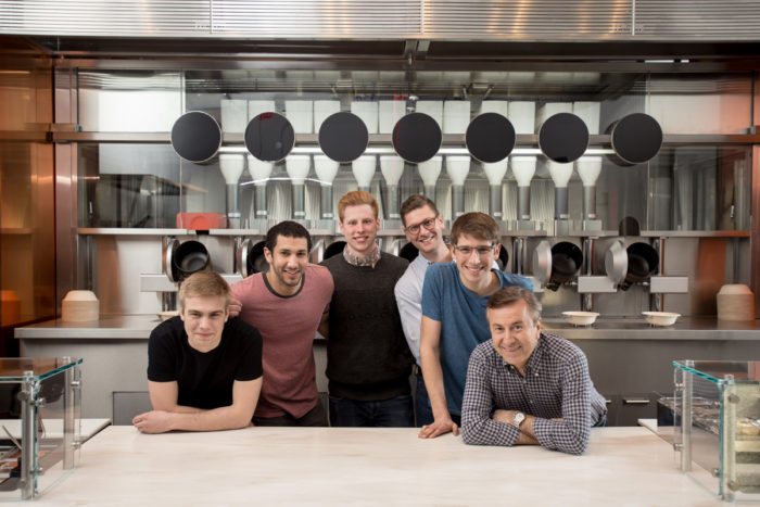 Co-founder Luke Schlueter, co-founder Michael Farid, co-founder Kale Rogers, executive chef Sam Benson, co-founder Brady Knight, chef Daniel Boulud.
