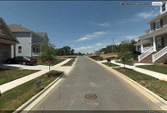 A subdivision on the edge of Charlotte via Google Earth.