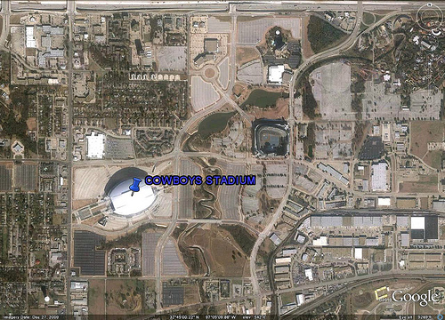 where the woeful Dallas Cowboys play and their fans park (via Google Earth)