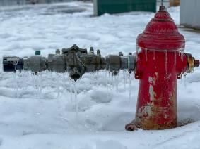 Frozen water hydrant in Austin, Texas