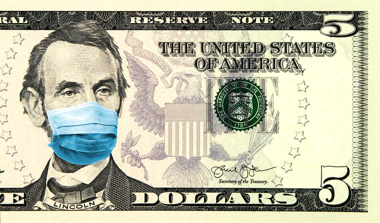 Abe Lincoln bill with face mask